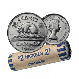 1953 Canadian 5 Cents Nickel Coin Roll (Circulated)