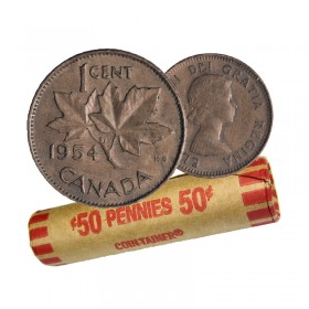 1954 Canadian 1-Cent Maple Leaf Twig Penny Coin Roll (Circulated)