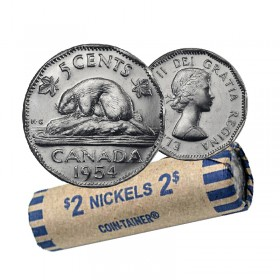 1954 Canadian 5 Cents Nickel Coin Roll (Circulated)