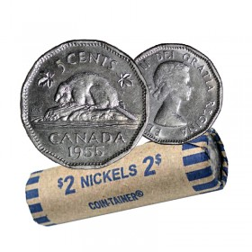 1955 Canadian 5 Cents Nickel Coin Roll (Circulated)