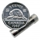 1957 Canadian 5-Cent Beaver Nickel Roll in Coin Tube (Brilliant Uncirculated)