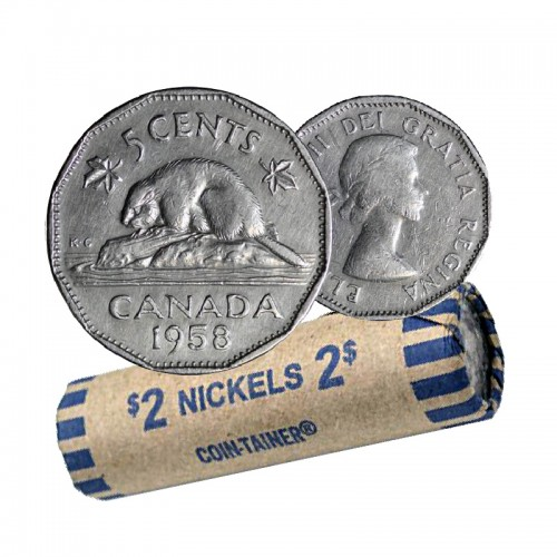 1958 Canadian 5-Cent Beaver Nickel Coin Roll (Circulated)