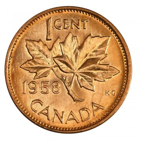1958 Canadian 1-Cent Maple Leaf Twig Penny Coin (Brilliant Uncirculated)