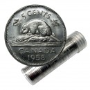 1958 Canadian 5-Cent Beaver Nickel Roll in Coin Tube (Brilliant Uncirculated)
