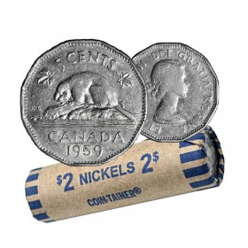 1959 Canadian 5-Cent Beaver Nickel Coin Roll (Circulated)