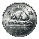 1961 Canadian 5-Cent Beaver Nickel Coin (Brilliant Uncirculated)