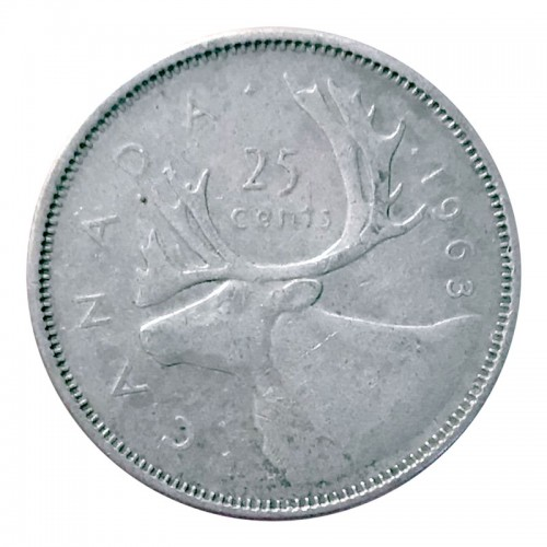1963 Canadian 25-Cent Caribou Silver Quarter Coin (Circulated)