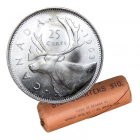 1963 Canadian 25-Cent Caribou Silver Quarter Original Coin Roll