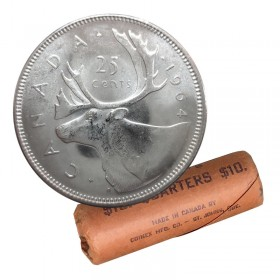 1964 Canadian 25-Cent Caribou Silver Quarter Original Coin Roll