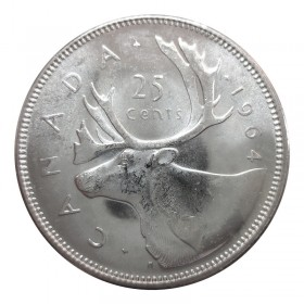 1964 Canadian 25-Cent Caribou Silver Quarter Coin (Brilliant Uncirculated)