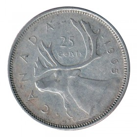 1965 Canadian 25-Cent Caribou Silver Quarter Coin (Circulated)