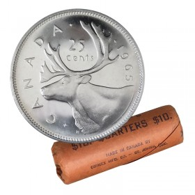 1965 Canadian 25-Cent Caribou Silver Quarter Original Coin Roll