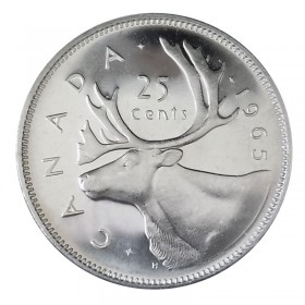 1965 Canadian 25-Cent Caribou Silver Quarter Coin (Brilliant Uncirculated)