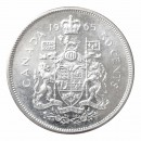 1965 Canadian 50-Cent Coat of Arms Silver Half Dollar Coin (Brilliant Uncirculated)