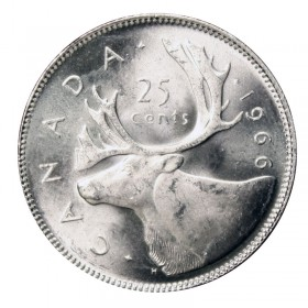 1966 Canadian 25-Cent Caribou Silver Quarter Coin (Brilliant Uncirculated)
