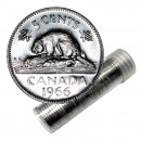 1966 Canadian 5-Cent Beaver Nickel Roll in Coin Tube (Brilliant Uncirculated)