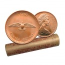 1967 (1867-) Canadian 1 Cent Confederation Centennial Rock Dove Penny Original Coin Roll