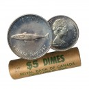1967 (1867-) Canadian 10 Cents Confederation Centennial Mackerel (Fish) Silver Dimes Original Coin Roll