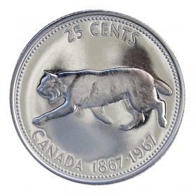 1967 (1867-) Canadian 25-Cent Bobcat Confederation Centennial Silver Quarter Coin (Brilliant Uncirculated)