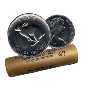 1967 (1867-) Canadian 5-Cent Rabbit/Hare Confederation Centennial Nickel Original Coin Roll