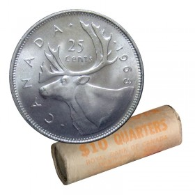 1968 Canadian 25-Cent Caribou Silver Quarter Original Coin Roll