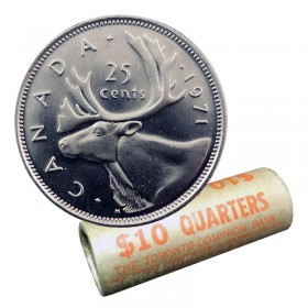 1971 Canadian 25-Cent Caribou Quarter Original Coin Roll