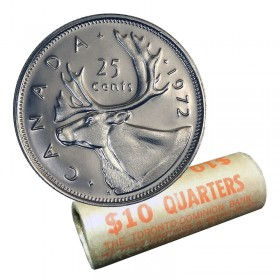1972 Canadian 25-Cent Caribou Quarter Original Coin Roll