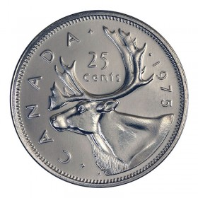 1975 Canadian 25-Cent Caribou Quarter Coin (Brilliant Uncirculated)