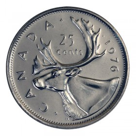 1976 Canadian 25-Cent Caribou Quarter Coin (Brilliant Uncirculated)