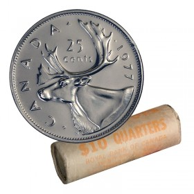 1977 Canadian 25-Cent Caribou Quarter Original Coin Roll