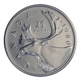 1980 Canadian 25-Cent Caribou Quarter Coin (Brilliant Uncirculated)