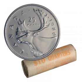 1980 Canadian 25-Cent Caribou Quarter Original Coin Roll