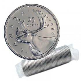 1984 Canadian 25-Cent Caribou Quarter Original Coin Roll