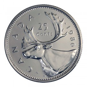 1986 Canadian 25-Cent Caribou Quarter Coin (Brilliant Uncirculated)