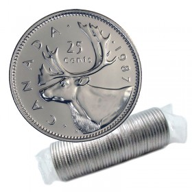 1987 Canadian 25-Cent Caribou Quarter Original Coin Roll