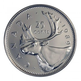 1989 Canadian 25-Cent Caribou Quarter Coin (Brilliant Uncirculated)