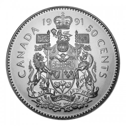 1991 Canadian 50-Cent Coat of Arms Half Dollar Coin (Brilliant Uncirculated)