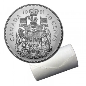 1991 Canadian 50-Cent Coat of Arms Half Dollar Original Coin Roll