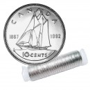 1992 (1867-) Canadian 10-Cent Bluenose Schooner/Confederation 125th Anniv Dime Original Coin Roll