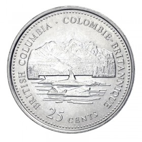 1992 (1867-) Canadian 25-Cent British Columbia Confederation 125th Anniv/Provincial Quarter Coin (Brilliant Uncirculated)