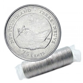 1992 (1867-) Canadian 25-Cent Newfoundland Confederation 125th Anniv/Provincial Quarter Original Coin Roll