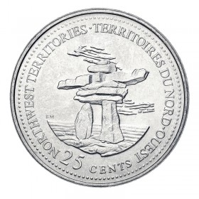 1992 (1867-) Canadian 25-Cent Northwest Territories Confederation 125th Anniv/Provincial Quarter Coin (Brilliant Uncirculated)