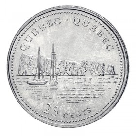 1992 (1867-) Canadian 25-Cent Quebec Confederation 125th Anniv/Provincial Quarter Coin (Brilliant Uncirculated)