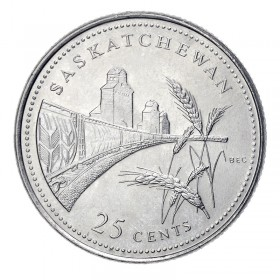 1992 (1867-) Canadian 25-Cent Saskatchewan Confederation 125th Anniv/Provincial Quarter Coin (Brilliant Uncirculated)