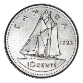 1993 Canadian 10-Cent Bluenose Schooner Dime Coin (Brilliant Uncirculated)