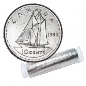 1993 Canadian 10-Cent Bluenose Schooner Dime Original Coin Roll