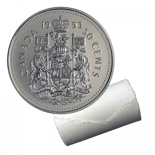 1993 Canadian 50-Cent Coat of Arms Half Dollar Original Coin Roll