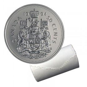 1994 Canadian 50-Cent Coat of Arms Half Dollar Original Coin Roll