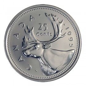 1995 Canadian 25-Cent Caribou Quarter Coin (Brilliant Uncirculated)