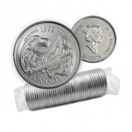 1999 Canadian 25-Cent October: A Tribute to First Nations Millennium Quarter Original Coin Roll